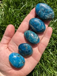 Alluring water-blue apatite stone