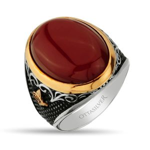 Beautiful ring with red agate stone